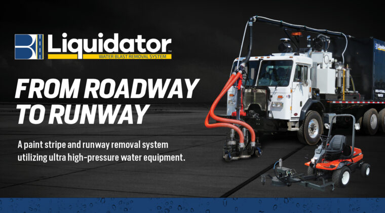Liquidator Blasters Liquidator is a paint stripe and runway rubber removal system which utilizes ultra-high-pressure water equipment to safely remove roadway markings, airport runway markings and rubber buildup, curing compound, sealer, tack, and many other applications